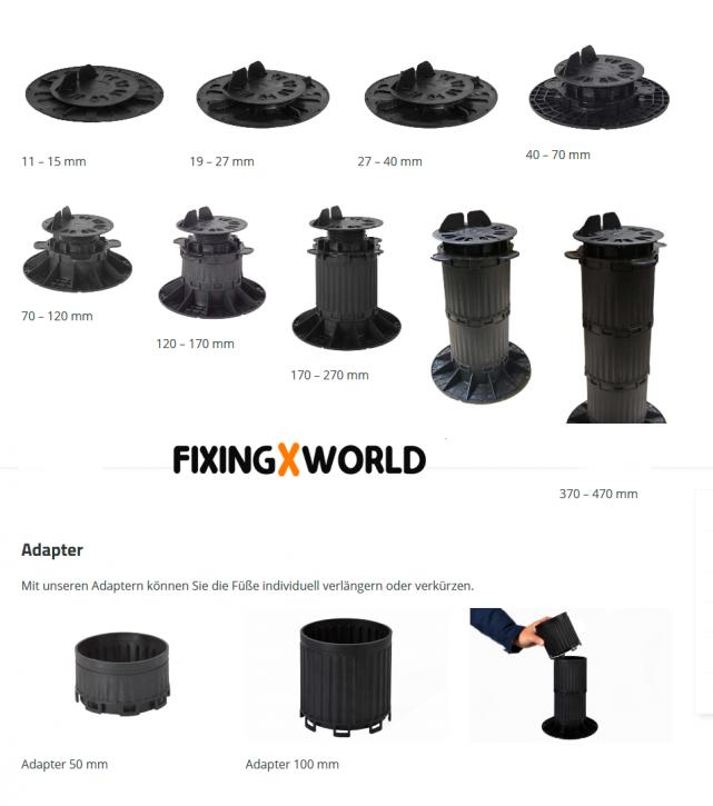 Fixingworld QuickFix Terrassenlager von 11 - 570mm verstellbar